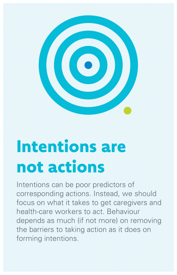 Intentions are not Actions: Intentions can be poor predictors of corresponding actions. Instead, we should focus on what it takes to get caregivers and health-care workers to act. Behaviour depends as much (if not more) on removing the barriers to taking action as it does on forming intentions.