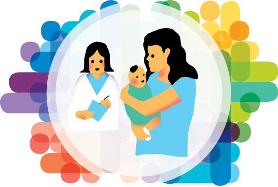 Editorial illustration of a mother holding her child and a health worker besides her with a medical chart in her hands.